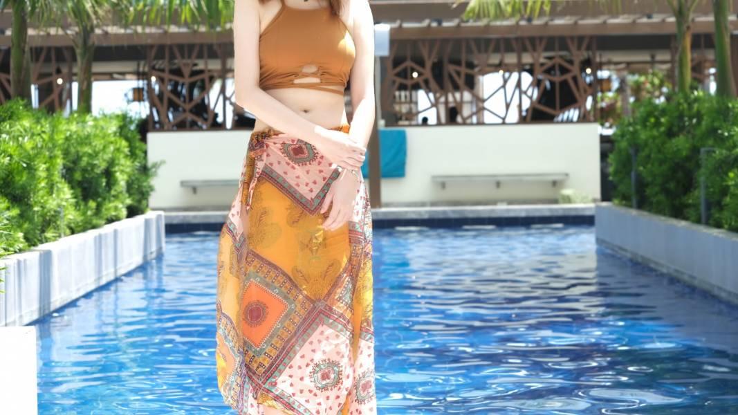 波西米雅綁帶沙龍3件式泳衣 比基尼,泳裝,泳衣