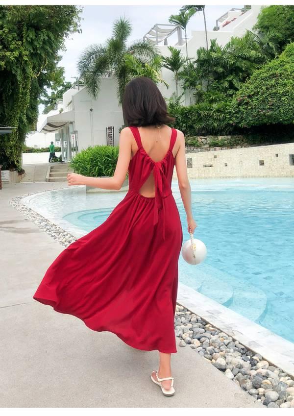紅色性感美背渡假洋裝 渡假洋裝,長裙
