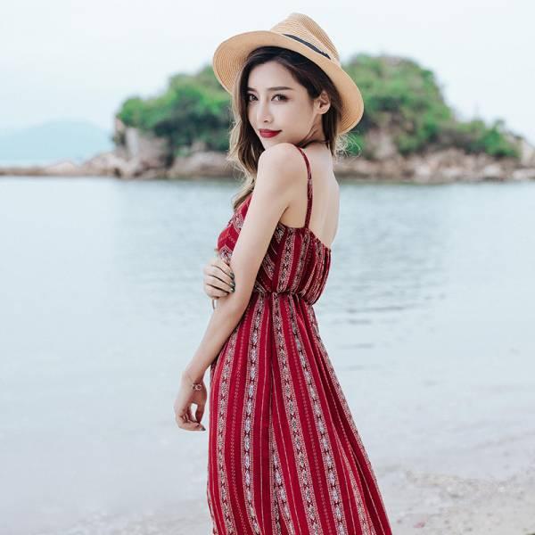 韓風細肩帶顯瘦渡假長裙 渡假洋裝,長裙