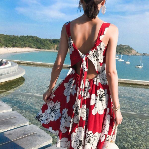 扶桑花美背短洋裝 渡假洋裝,短裙,短洋裝