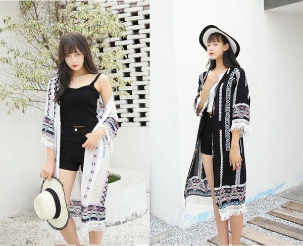 民族風流蘇外罩衫黑白兩色 罩衫