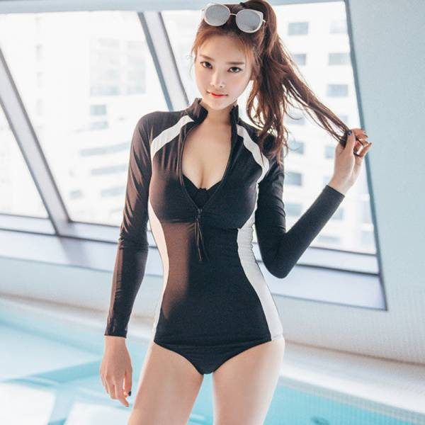韓版長袖連身兩件式泳衣 長袖防曬泳衣