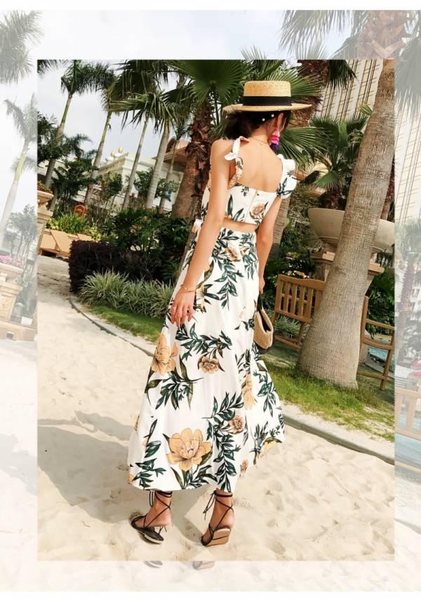 荷葉邊肩帶前開衩裙擺渡假長裙 渡假洋裝,長裙