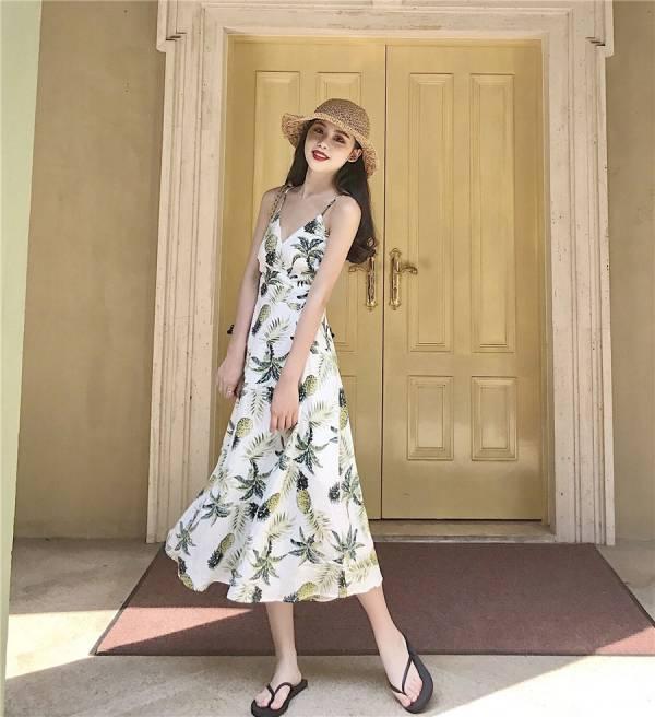 鳳梨印花交叉露背渡假長裙 渡假洋裝,長裙