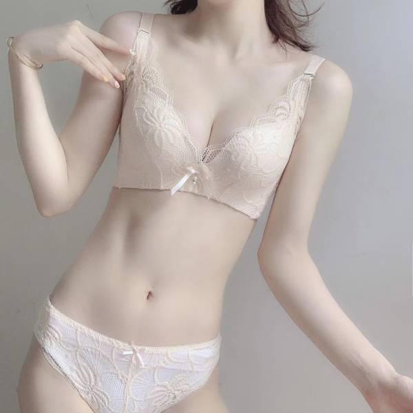 蕾絲包覆乳超集中無鋼圈內衣(膚) 內衣,美胸內衣,集中內衣,性感內衣
