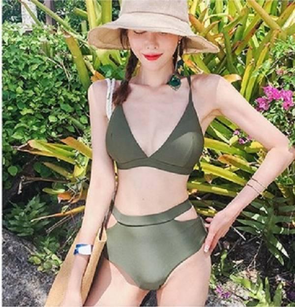 韓版無鋼圈軍綠色素面高腰比基尼 比基尼,泳裝,泳衣