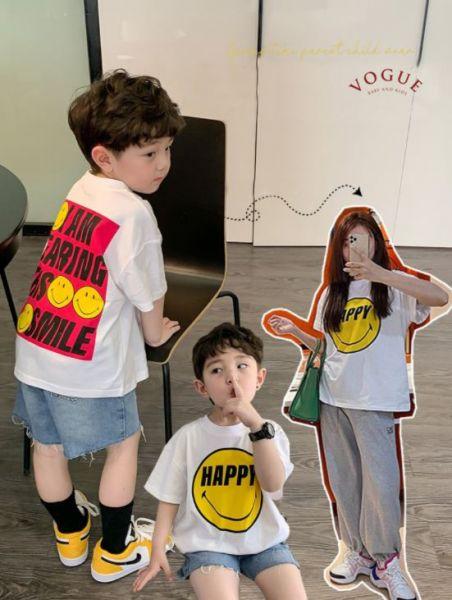 BV1522 春夏新款 全家出遊 Happy笑臉圖案短袖上衣親子裝 春,夏,新款,全家,出遊,笑臉,圖案,短袖,上衣,親子裝,親子,全家福,