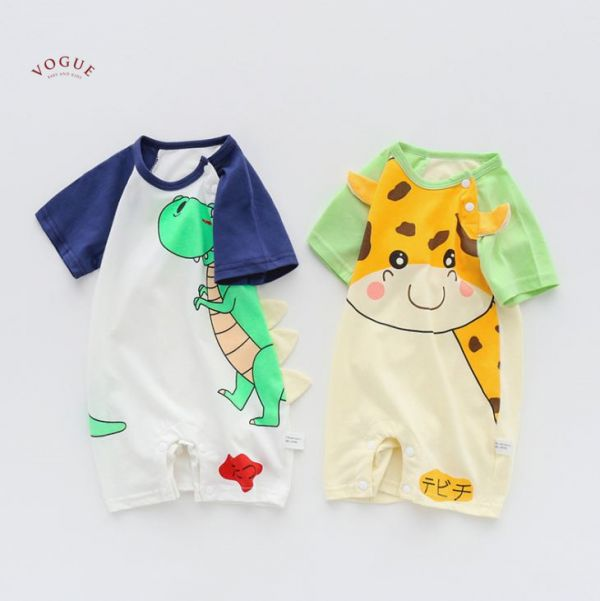 BV01519 春夏新款 純棉卡哇依圖案短袖連身爬行衣 (2款) 純棉,寶寶,童裝,短袖,連身衣,爬行衣,