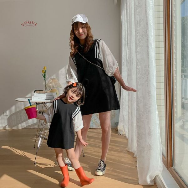 BV1553 春夏新款 全家出遊 質感潮流POLO衫/連身裙 親子裝 春,夏,新款,全家,出遊,質感,潮流,POLO衫,連身裙,親子裝,親子,全家福,