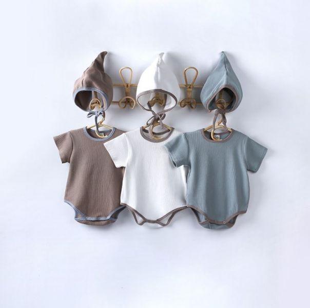 BV01606 春夏新款 舒適素色短袖包屁衣+帽 套裝 (3色) 春,夏,新款,舒適,素色,短袖,包屁衣,帽,套裝,