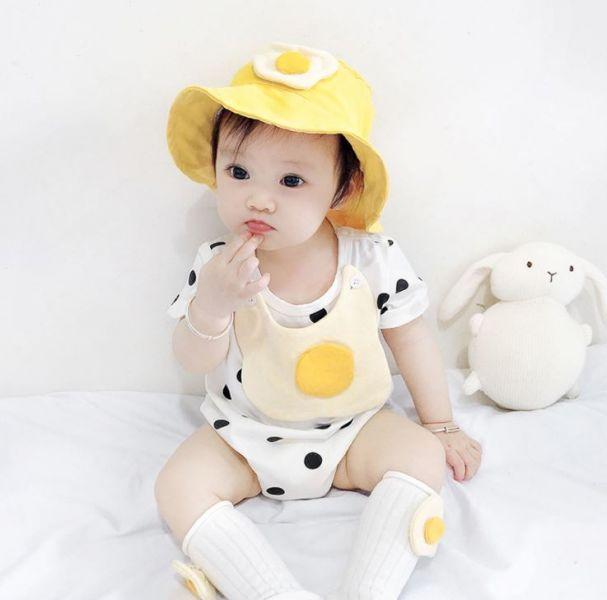 BV01576 春夏新款 超萌荷包蛋寶寶短袖包屁衣+帽 套裝 萌,荷包蛋,寶寶,短袖,包屁衣,帽,套裝,