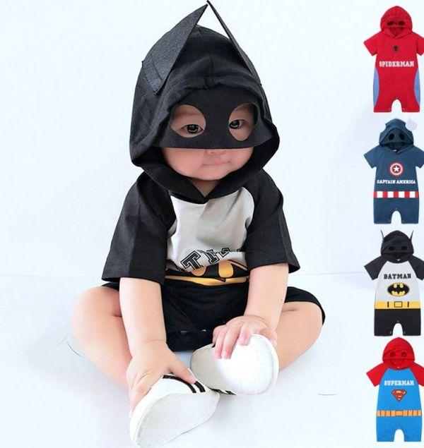 BV01236 春夏新款 超級英雄寶寶短袖連帽連身衣 (4款) 春,夏,新款,超級英雄,寶寶,短袖,連帽,連身衣,蜘蛛人,美國隊長,蝙蝠俠,超人,