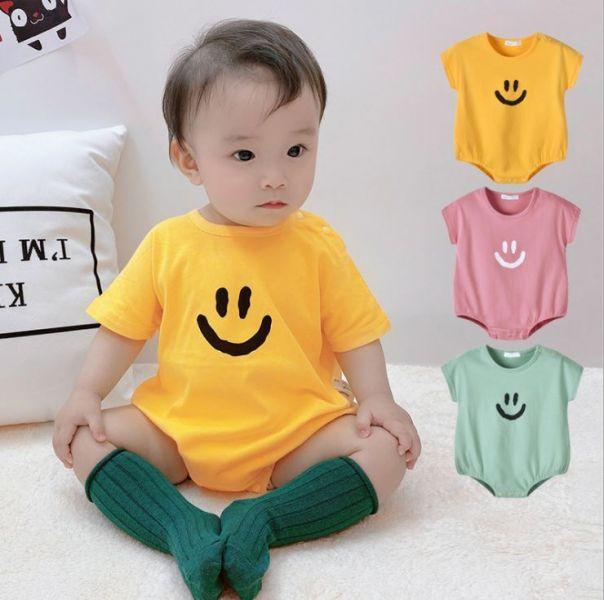 BV01577 春夏新款 寶寶微笑心情好短袖包屁衣 (3色) 春,夏,新款,寶寶,微笑,心情好,短袖,包屁衣,HAVEANICEDAY,
