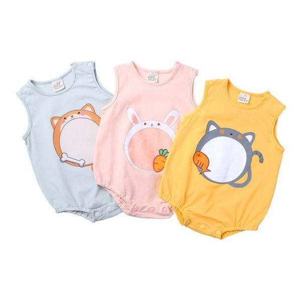 BV01610 春夏新款 卡哇依動物寶寶無袖包屁衣 (3款) 春,夏,新款,卡哇依,動物,寶寶,無袖,包屁衣,