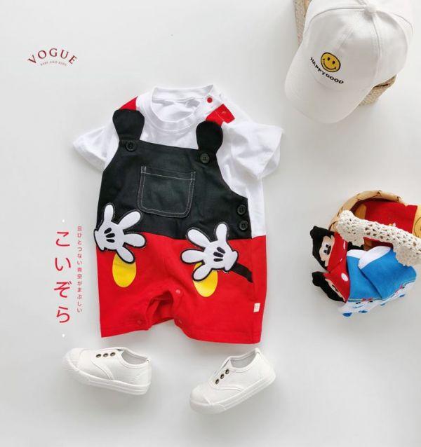 BV01558 春夏新款 米奇造型短袖假兩件連身衣 米奇,造型,短袖,假兩件,連身衣,