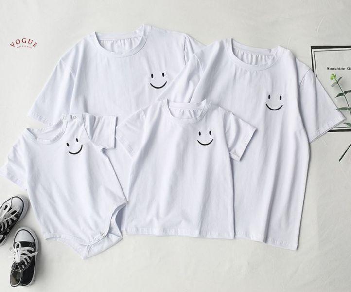 BV1529 春夏新款 全家出遊 SMILE心情好 笑臉圖案短袖上衣親子裝 春,夏,新款,全家,出遊,笑臉,圖案,短袖,上衣,親子裝,親子,全家福,