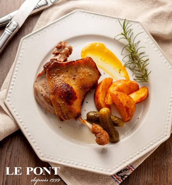 confit油封鴨腿鵝油薯條組 薯條,鴨腿,法式,料理