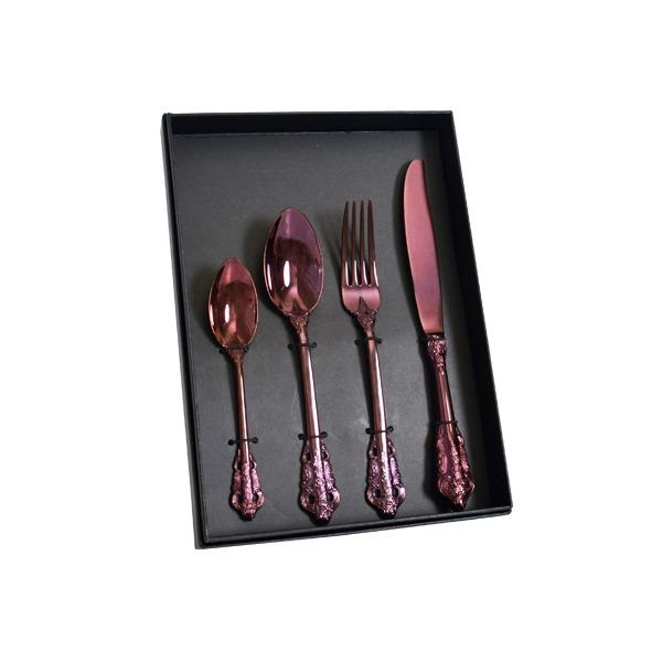 索羅雕花鈦鋼餐具禮盒組 紫羅蘭