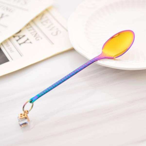 創意耳環掛飾咖啡匙 炫彩 湯匙,瑪黛茶,過濾勺,吸管匙,花茶匙,攪拌匙,吸管,不鏽鋼,外出隨身,餐具,環保,ZAKKA,鄉村風,廚房