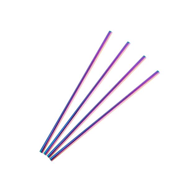 特洛鈦鋼短直吸管4入組 / 炫彩