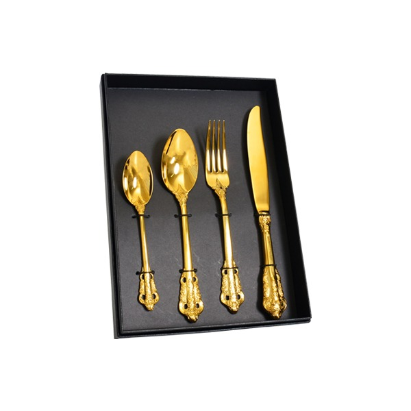 索羅雕花鈦鋼餐具禮盒組 璀璨金