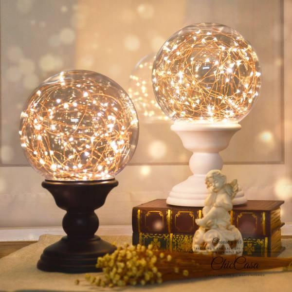北歐時尚火樹銀花大球燈 黑色 遙控款 台燈,桌燈,氣氛燈,浪漫燈飾,交換禮物,生日禮物