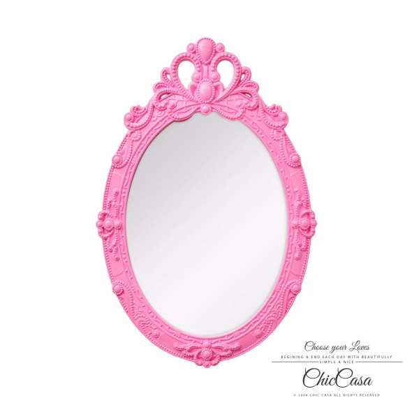 埃爾莎立體浮雕古典壁掛鏡 蜜桃粉 玄關竟,浴室鏡,開店,化妝鏡,掛鏡