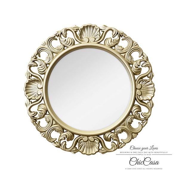 夏洛蒂立體浮雕古典壁掛鏡 香檳金 玄關鏡,浴室鏡,開店,化妝鏡,鏡子,古典,復古,雜貨,家居,裝飾