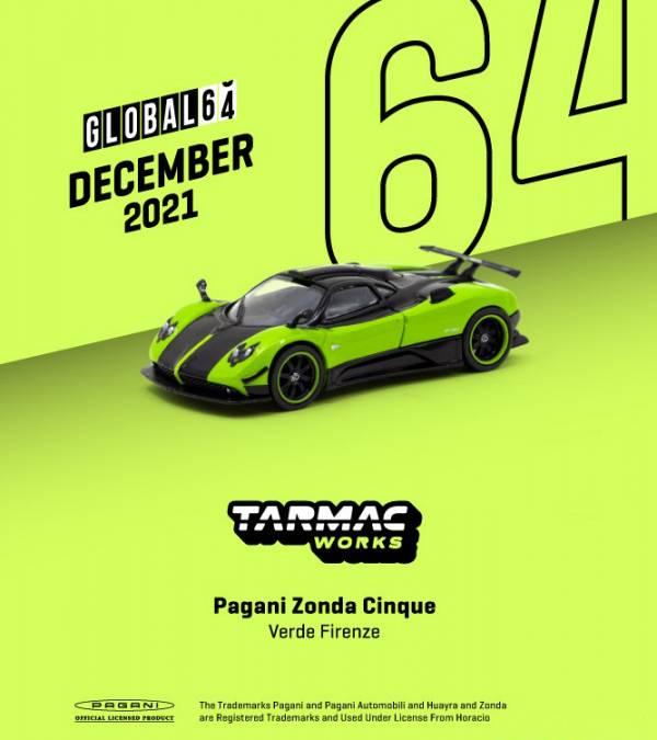 TARMAC WORKS 1/64 帕加尼 Zonda Cinque Verde Firenze 合金車 TARMAC WORKS,1/64,帕加尼,Zonda Cinque Verde Firenze,合金車,