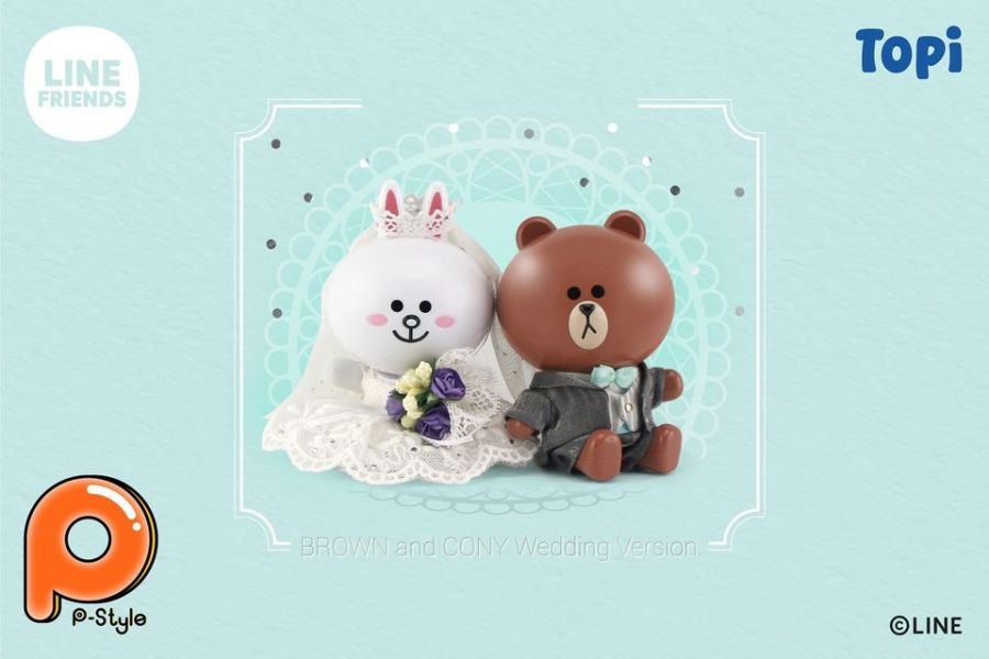 TOPI P-Style LINE FRIENDS BROWN熊大&CONY兔兔 婚紗ver. Topi,P-Style,LINE,FRIENDS,BROWN,熊大,&,CONY,兔兔,婚紗,ver,.,