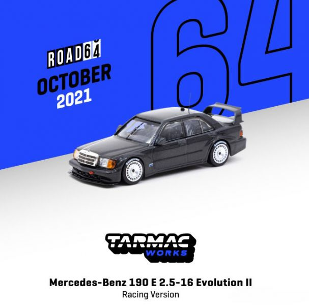 TARMAC WORKS 1/64 賓士 190 E 2.5-16 EvolutionII 賽場ver. 金屬黑 合金車   TARMAC WORKS,1/64,賓士,190 E 2.5-16 EvolutionII 賽場ver. 金屬黑,合金車,