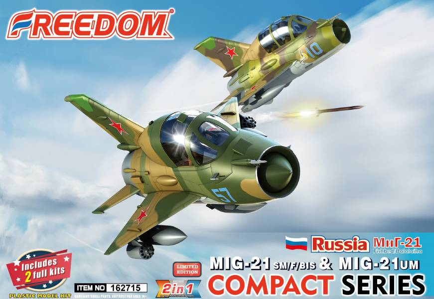 FREEDOM MIG-21 F/SM/BIS & MIG-21 UM 俄羅斯空軍版 組裝模型 FREEDOM,MIG-21,F/SM/BIS,&,MIG-21,UM,俄羅斯空軍版,組裝模型,
