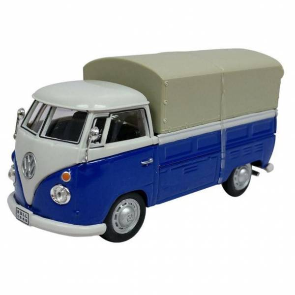 Cararama 1/43 福斯Volkswagen T1 皮卡車 含車罩 藍色 合金完成品 Cararama,1/43,福斯,Volkswagen T1,皮卡車,車罩