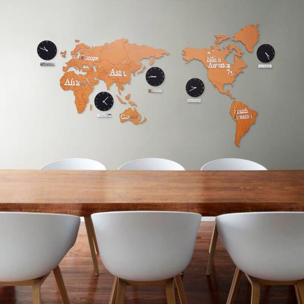 【北歐風格】好旅行桃木世界地圖裝潢掛鐘(加大)(220cm) 【時尚家居】旅行世界地圖 經典多時區 時鐘