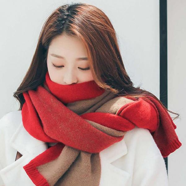 【韓國】拼色針織圍巾 旅行必備,針織圍巾