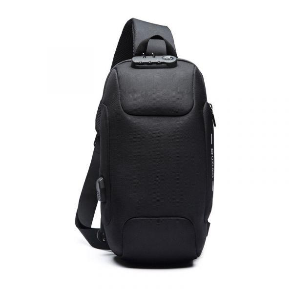 【ozuko】韓版防水斜背包-3種背法(黑/藍) 旅行背包