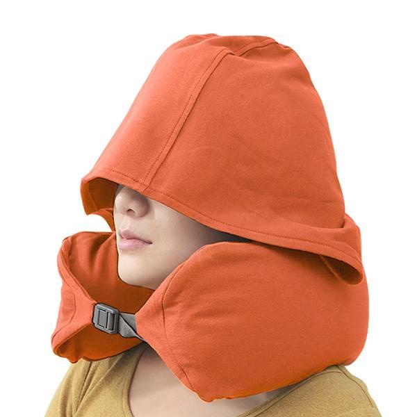 【加大加厚】無印風連帽U型枕|遮光效果好護脖頸枕 U型枕,連帽頸枕,無印枕