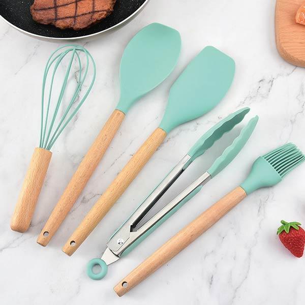 【馬卡龍】矽膠廚具12件套裝組 【馬卡龍】木柄矽膠廚具12件套裝組