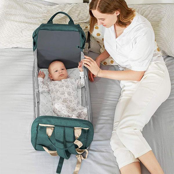 【bearbed】嬰兒床媽咪包|摺疊嬰兒床 雙肩包 母嬰背包 大容量媽包