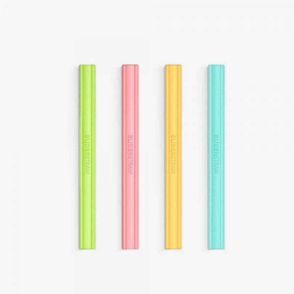 【SLIDERSTRAW】可拆式環保吸管│矽膠吸管4色組│15cm 環保吸管,可拆卸環保吸管