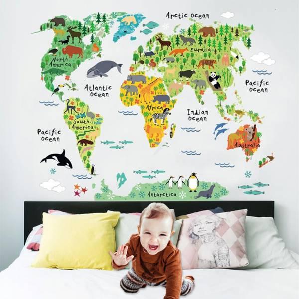 【非洲在哪裡?】無痕可愛動物地圖壁貼 地圖壁貼,壁貼,牆壁貼紙,動物地圖
