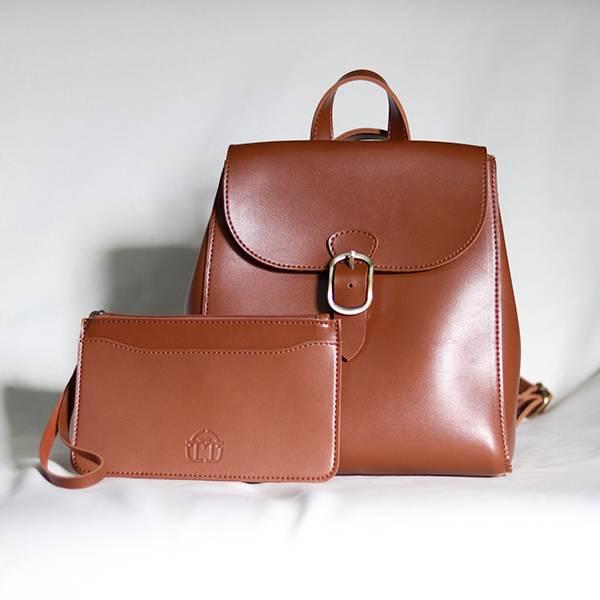 【森系mini包】簡約輕手工後背包 後背單肩兩用包
