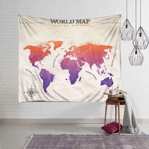 【北歐居家風格】世界地圖時尚滌綸掛布|地圖布簾布巾佈置 世界地圖,居家掛布,地圖裝飾