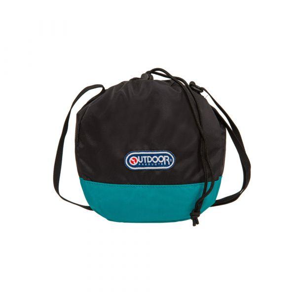 【OUTDOOR】束口袋側背包 (黑/翠綠色)