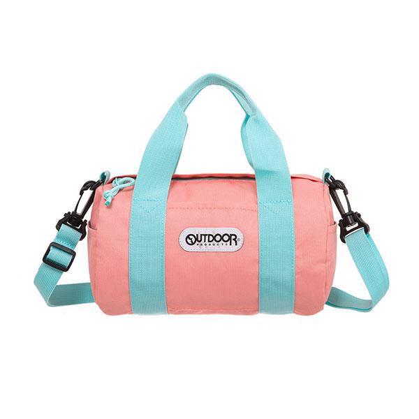 【OUTDOOR】玩色系列-圓筒側背包 (蜜桃色)