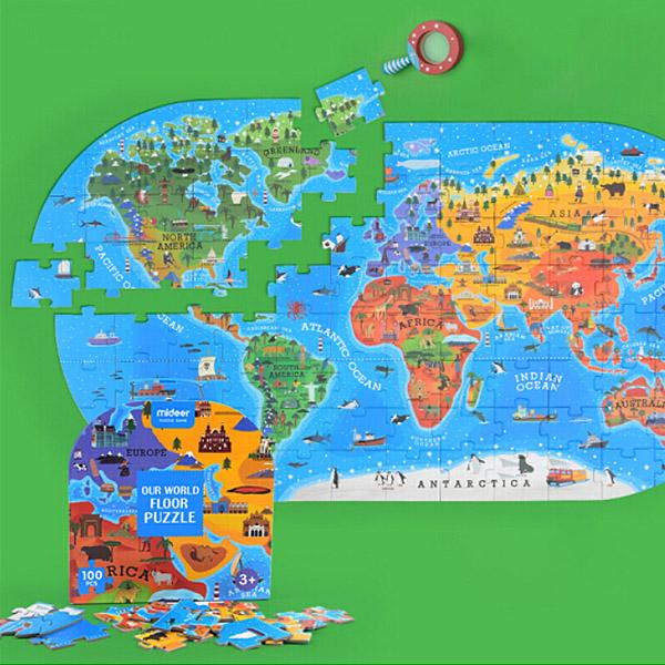 【mideer】兒童認知地理世界地圖拼圖|早教拼圖