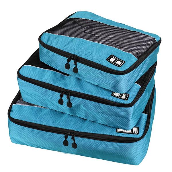 旅行收納袋三件組|三種尺寸|聚酯纖維|藍/黑/綠 旅行收納袋