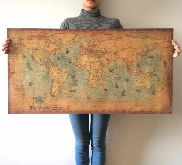 【世界地圖】國家地理雜誌復刻款(大) 環遊世界地圖,壁貼,旅行地圖