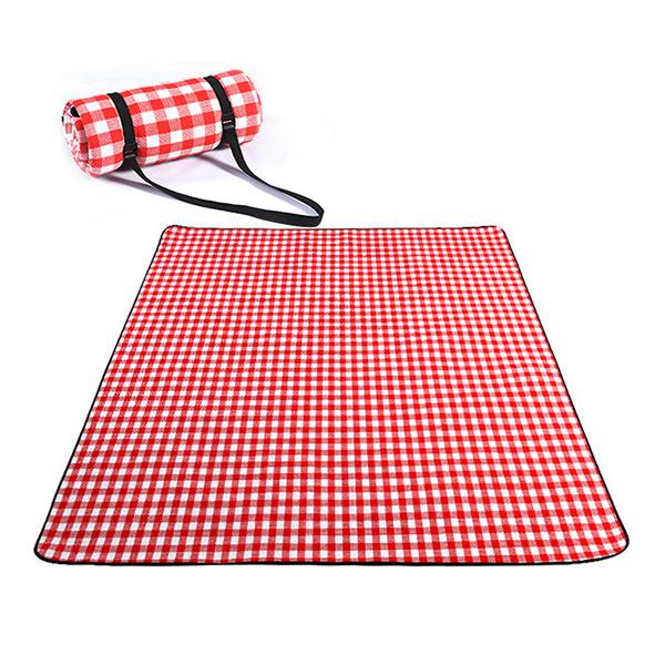【HowTravel】經典紅白格野餐墊 (300x300cm)防水防潮/耐磨耐髒/攜帶便利