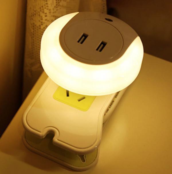 光控感應 旅行LED 小夜燈 雙USB插座 手機充電器 小夜燈, 智能小夜燈, 感應小夜燈, 智能感應小夜燈, 夜燈ptt, 感應夜燈ptt, 感應燈ptt, 感應夜燈, 充電式感應燈, 充電感應燈